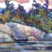 Haliburton Sunset Acrylic 12x12 SOLD