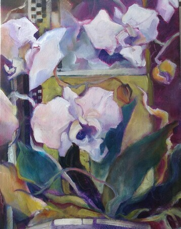 Orchids at the Carlyle Acrylic 11x14