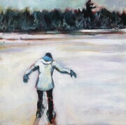 Snowshoeing on Beaver Pond Acrylic 12x12