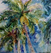 Towering Palms Watercolour on Yupo
